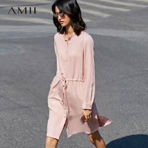 Amii[极简主义]2017秋宽松小立领腰间抽绳系扣长袖连衣裙11771001