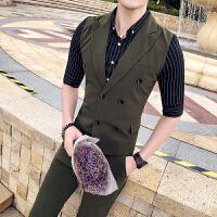 韩版夜店潮男夏款西装领双排扣修身马甲套装青年休闲九分裤两件套