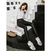 七格格PU皮裤子女秋冬季2018新款韩版显瘦高腰加绒加厚小脚铅笔裤