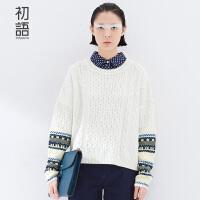 初语文艺冬季新品撞色图纹麻花纹假两件套头翻领长袖毛衣女 8540423056