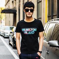 点就 纯棉短袖t恤男圆领宽松夏季韩版潮印花打底衫上衣VZTX17062