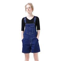 初语2017新款纯棉背带短裤女夏 休闲简约薄款宽松显瘦直筒背带裤