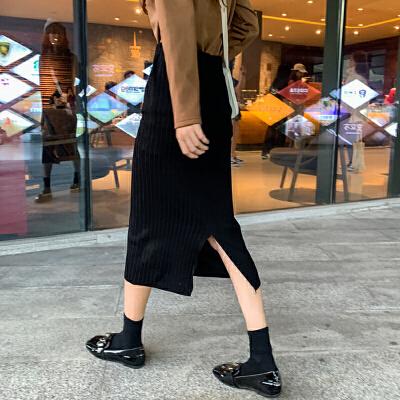 超火裙子秋冬新款韩版高腰针织半身裙女开叉中长款A字裙潮 一般在付款后3-90天左右发货,具体发货时间请以与客服协商的时间为准