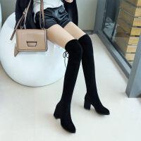 过膝长靴女显瘦弹力布靴高跟高筒靴子粗跟长筒靴5050女靴春秋单靴 M6 黑色单里