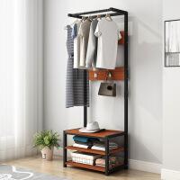 现代简约衣帽架卧室衣架落地家用挂衣架钢木衣服架子多功能