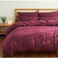 床上用品磨毛水洗棉纯棉加厚四件套拼色纯色学生三件套 2.