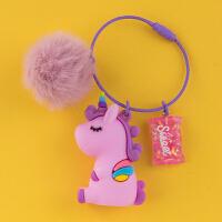 小毛球独角兽钥匙扣挂件创意个性礼品汽车链圈环可爱女士书包挂饰