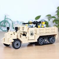 开智 积木 塑料军事履带车男孩女孩6岁以上礼物拼装拼搭亲子互动拼插游戏儿童玩具用品