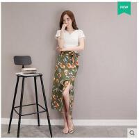 套装裙女装休闲套装新款韩版修身显瘦上衣小衫雪纺开叉长裙女支持礼品卡支付