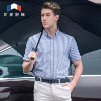 朗蒙夏装新款棉麻色织条纹短袖衬衫男 男士亚麻商务免烫休闲衬衣