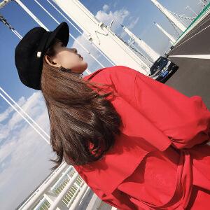 谜秀 风衣女中长款2017秋装新款韩版修身红色薄款大衣外套春秋潮
