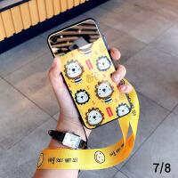 小狮子镜子苹果x手机壳xsmax玻璃iphone7挂绳8plus网红6s可爱xr女