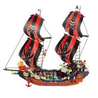 小鲁班积木 拼装玩具男孩加勒比海盗船黑珍珠号积木智力益智