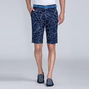 才子男装(TRIES)短裤 男士2017年新款时尚线条立体有型休闲短裤