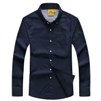 战地吉普AFSJEEP秋装新款1096纯棉长袖衬衫 宽松休闲男士纯色布衬衣 尖领