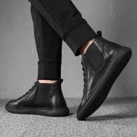 休闲皮鞋男韩版潮流英伦百搭潮鞋子潮男鞋黑色男士高帮鞋 黑色