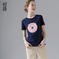 初语夏装款字母卡通刺绣圆领纯棉短袖T恤女宽松大码文艺休闲上衣