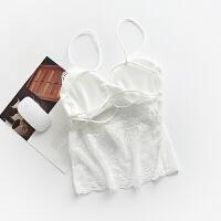 2018新款夏季白色蕾丝吊带美背带胸垫抹胸薄款小背心长款内衣女防裹胸 白色 长款1850 均码