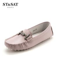 星期六(ST&SAT)春季羊皮革平跟圆头休闲豆豆鞋SS81111266