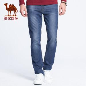 骆驼男装 春夏季时尚商务休闲中低腰长裤青年牛仔裤男