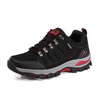 户外登山鞋 男女防滑耐磨徒步鞋轻便透气防水鞋 绒面黑色-