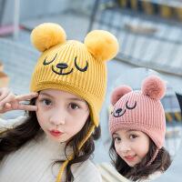 开柚 儿童帽子冬季新款宝宝毛线帽纯棉里衬婴儿保暖针织帽双球户外暖帽