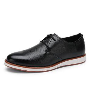 骆驼牌男鞋 2017夏季新品时尚简约牛皮休闲皮鞋舒适系带低帮鞋