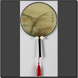 丝绢工笔画扇《芳兰》中国女工笔画协会委员