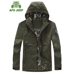 AFS JEEP战地吉普休闲夹克 秋冬薄款连帽速干夹克外套 男士户外弹力休闲工装夹克