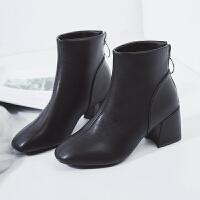 chic马丁靴女英伦风裸靴子女短靴高跟工装靴韩版百搭女靴春秋单靴