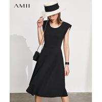Amii极简赫本风复古垫肩全棉连衣裙2021夏季新款小黑裙女A字裙子