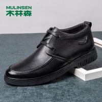 木林森男鞋冬季新款男士商务休闲高帮皮鞋男真皮系带保暖靴子78054010
