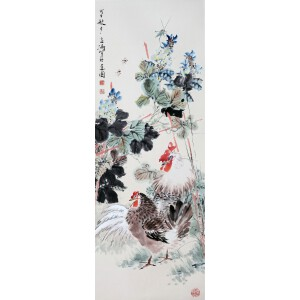 现代著名小写意花鸟画家   王雪涛《双吉图》