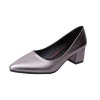 大东同款夏新款小皮鞋粗跟单鞋女高跟鞋同款黑色职业鞋工作鞋女鞋 银色 光面