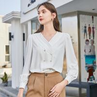 【三彩大牌日 到手价:155 元】三彩2020春季新款压褶V领直筒简约白衬衫长袖套头上衣女