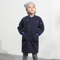 amii童装冬装新款女童棉衣中大童加厚棉服儿童立领棉袄外套+
