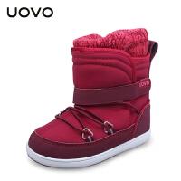 【抢10元券即可满199减100】UOVO2017新款冬季儿童休闲靴子女童保暖雪地靴女孩靴子童靴  纽芬兰