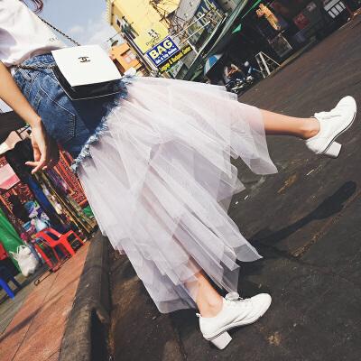 谜秀牛仔半身裙女高腰中长款2017秋装新款女装拼接网纱不规则四层的错落式设计