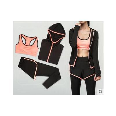 女时尚舒适文胸速干长裤长袖外套瑜伽服三件套健身跑步运动服套装 品质保证 售后无忧 支持货到付款