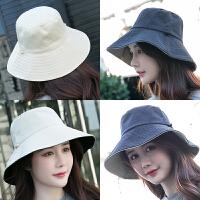 双面大沿渔夫帽帽遮阳帽子女夏天可折叠太阳帽旅游沙滩帽