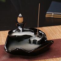 倒流香炉大件 倒流香炉家用香薰炉熏香檀香炉陶瓷创意摆件线香插卧室沉香道香座
