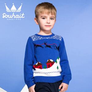 【3件3折 到手价:47.7元】水孩儿souhait冬季新款男小童织花线衫儿童内搭套头线衣AMADH301
