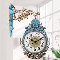 欧式侧装钟表工艺挂钟孔雀开屏丽盛欧式双面挂钟客厅大气静音创意石英钟表大号家用挂表装饰时钟 B8213G-81 (裂纹陶