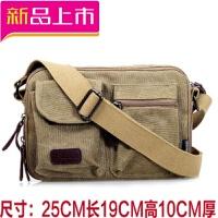 休闲帆布包女包包实用多层女式单肩斜跨包男女士布包小背包斜挎包