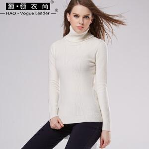 秋冬新款百搭高领毛衣女加厚针织衫打底衫纯色长袖内搭兔绒包芯纱