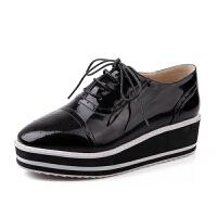 ELEISE美国艾蕾莎春季上新003-AS0030-5韩版漆皮松糕底女士松糕鞋