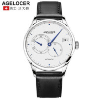 Agelocer艾戈勒瑞士原装全自动机械表男表皮带休闲24小时制手表男