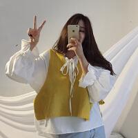 女神范套装女秋冬新款韩版针织马甲+娃娃衫+中长款衬衫时尚三件套