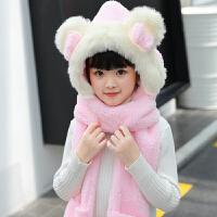 儿童围巾冬季女童小孩保暖公主帽子手套三件套装一体可爱围脖