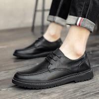 莫戈里男士商务休闲鞋休闲皮鞋男春夏季百搭透气系带男鞋正装鞋